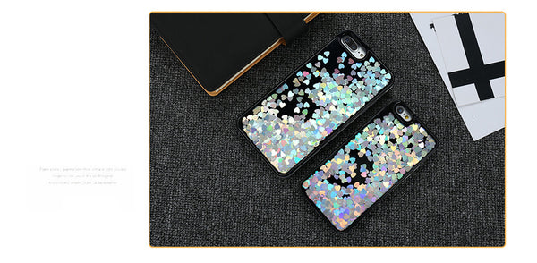 Love Heart Glitter Paillette Case