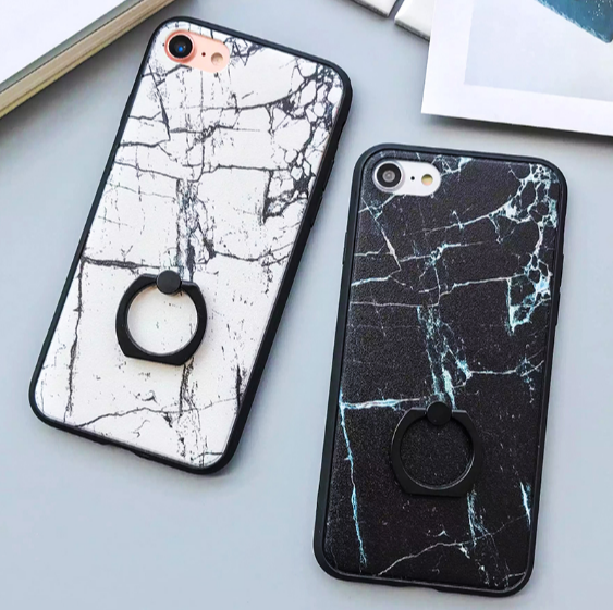 Marble Case With Ring Grip PopSocket