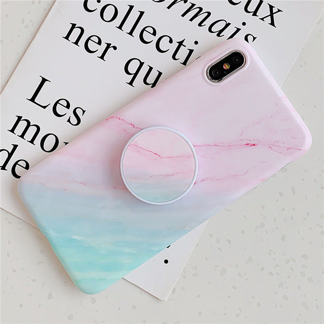 Gradient Marble Case with Popsocket