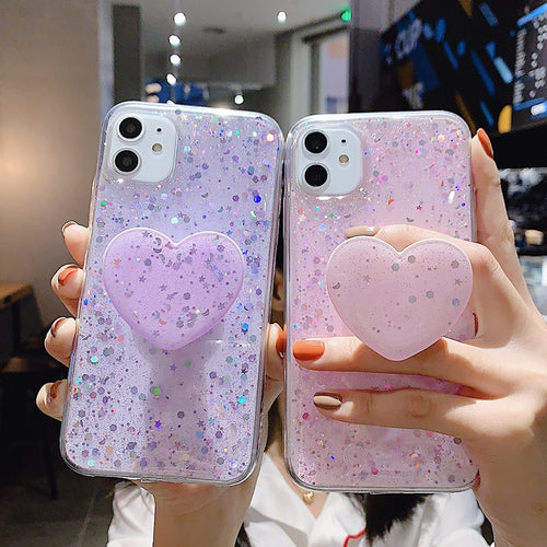 Bling Glitter Case with Heart PopSocket