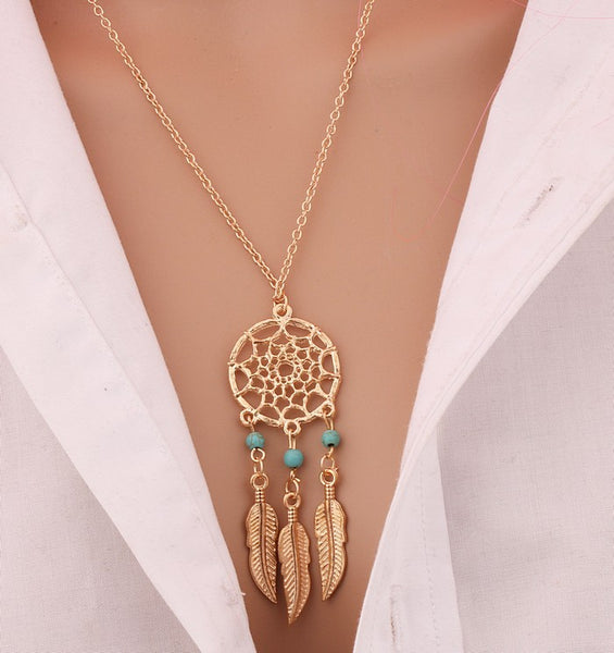 Bohemia Dreamcatcher Feather Necklace