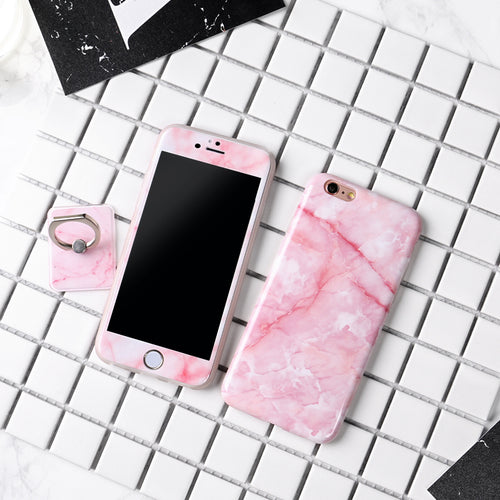 Full 360° Marble Case with a Ring Holder