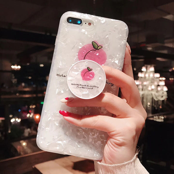 Cute Fruit Peach Case with Pop Socket