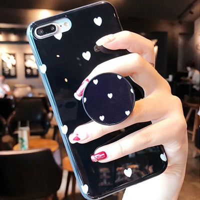Heart Glossy Case With PopSocket