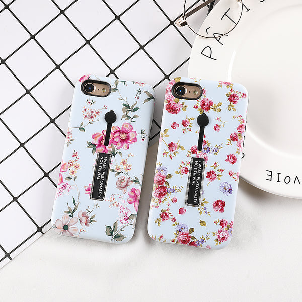 Floral Flowers Case with Hand Stand