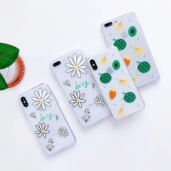 Cartoon Fruits & Daisy Flowers Case