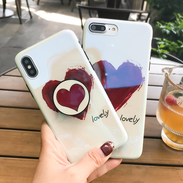 Heart Blue Ray Case with PopSocket