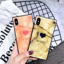 Square Marble Love Heart Case