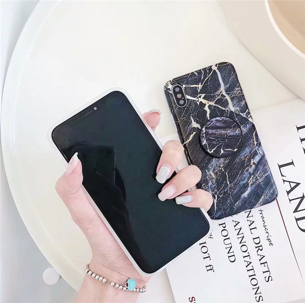 Colorful Glossy Marble Case with PopSocket