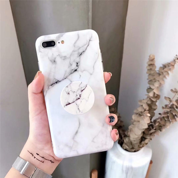 Fashion Glossy Marble Case with PopSocket