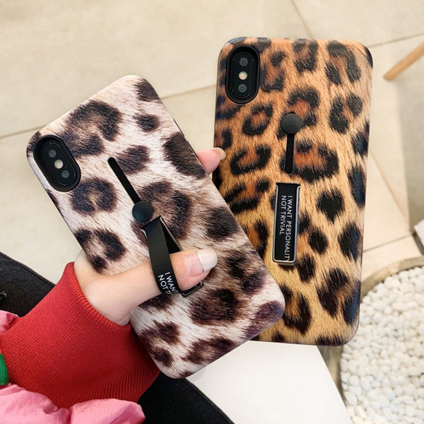 Leopard Case with Hand Stand Holder