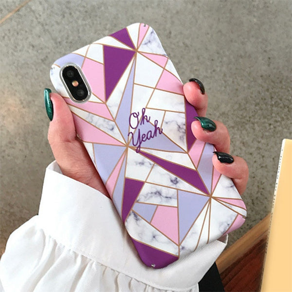Candy Color Geometric Splice Case