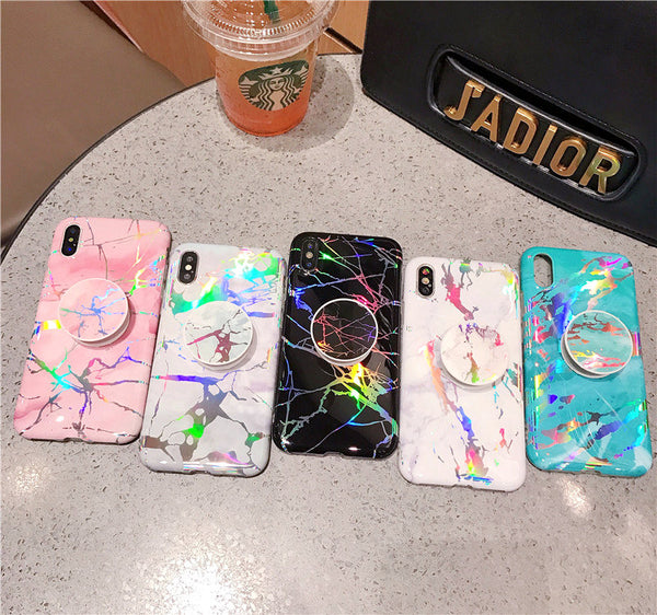 Holographic Marble Case with Popsocket
