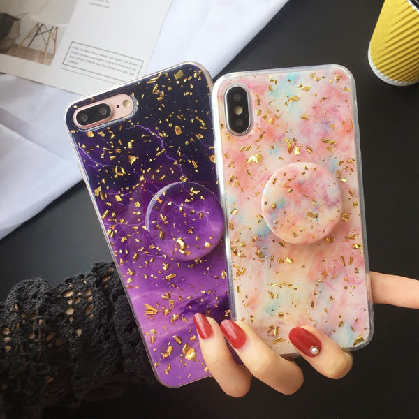 New Foil Bling Glitter Marble Case With PopSocket