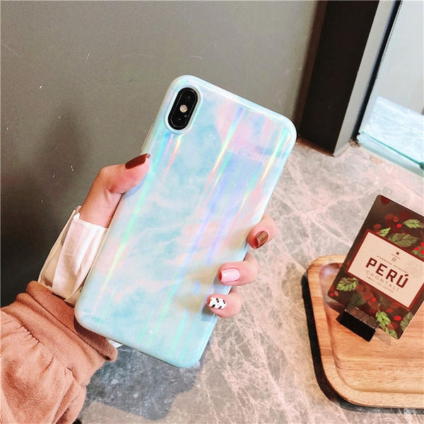 Marble Painting Case With PopSocket