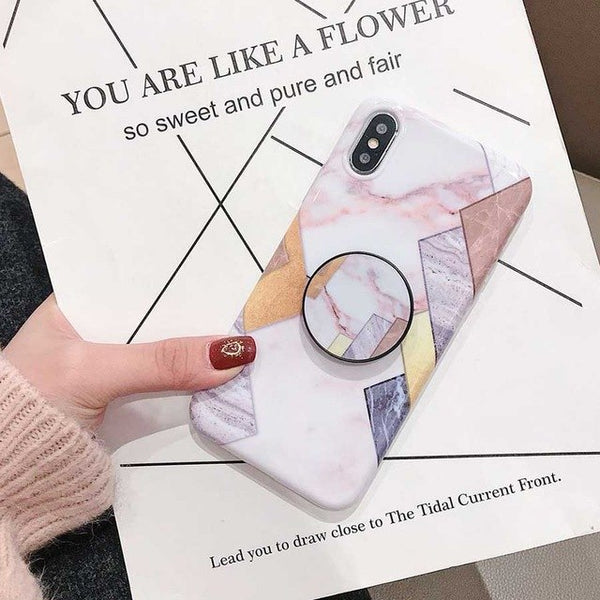 Glossy Geometric Case with PopSocket