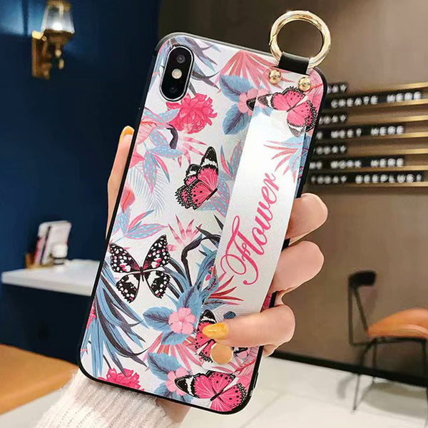 Flower Leopard Case With Wrist Strap Holder