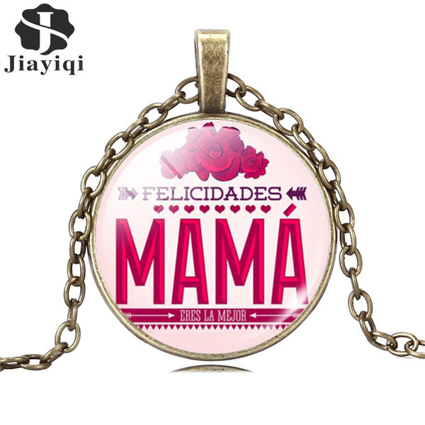 Silver Long Chain Love MAMA Necklace