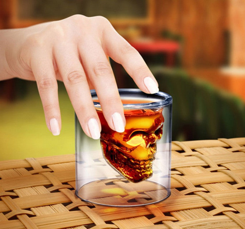 Skull Head Shot Glass Crystal Pirate Cup