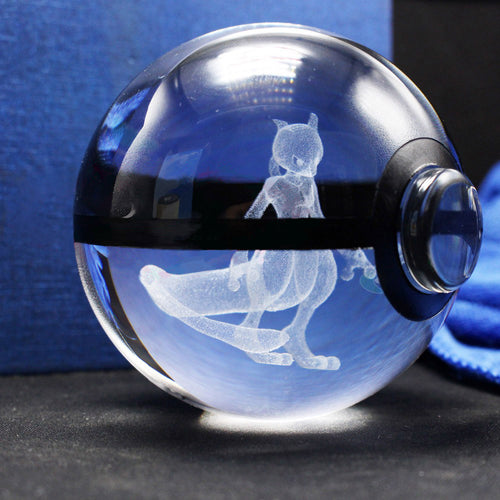 3D Crystal Mewtwo Pokemon Ball