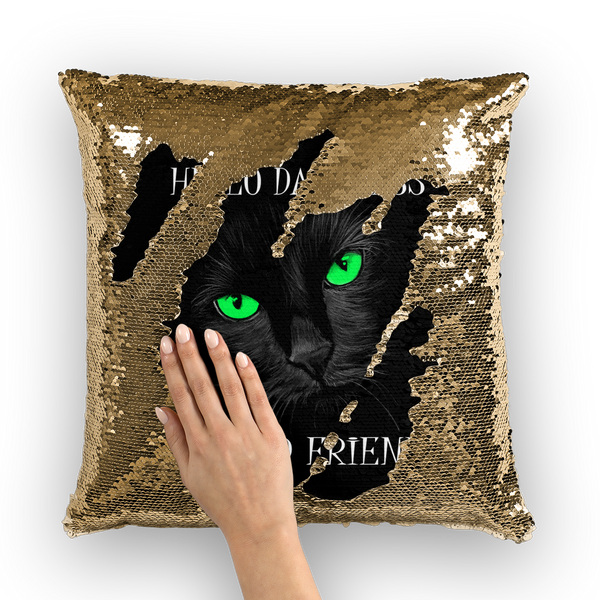 Hello Darkness, My Old Friend Green Sequin Cushion Cover