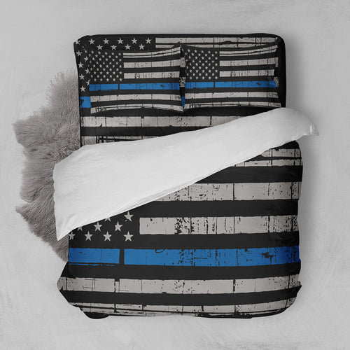 Thin Blue Line Bedding Set