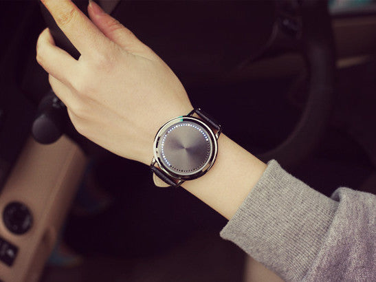Touch Screen LED Leather Band Watch