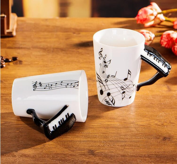 24 Style High Quality Creative Music Handgrip Ceramic Mug