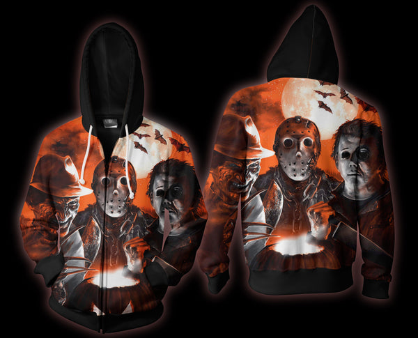 Jason Voorhees, Freddy Krueger And Michael Myers Zip Hoodie