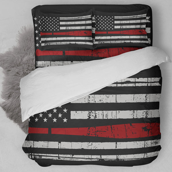 Baseball American Flag Red Bedding Set