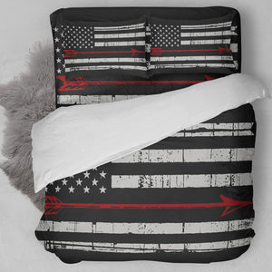 Archery American Flag Red Bedding Set
