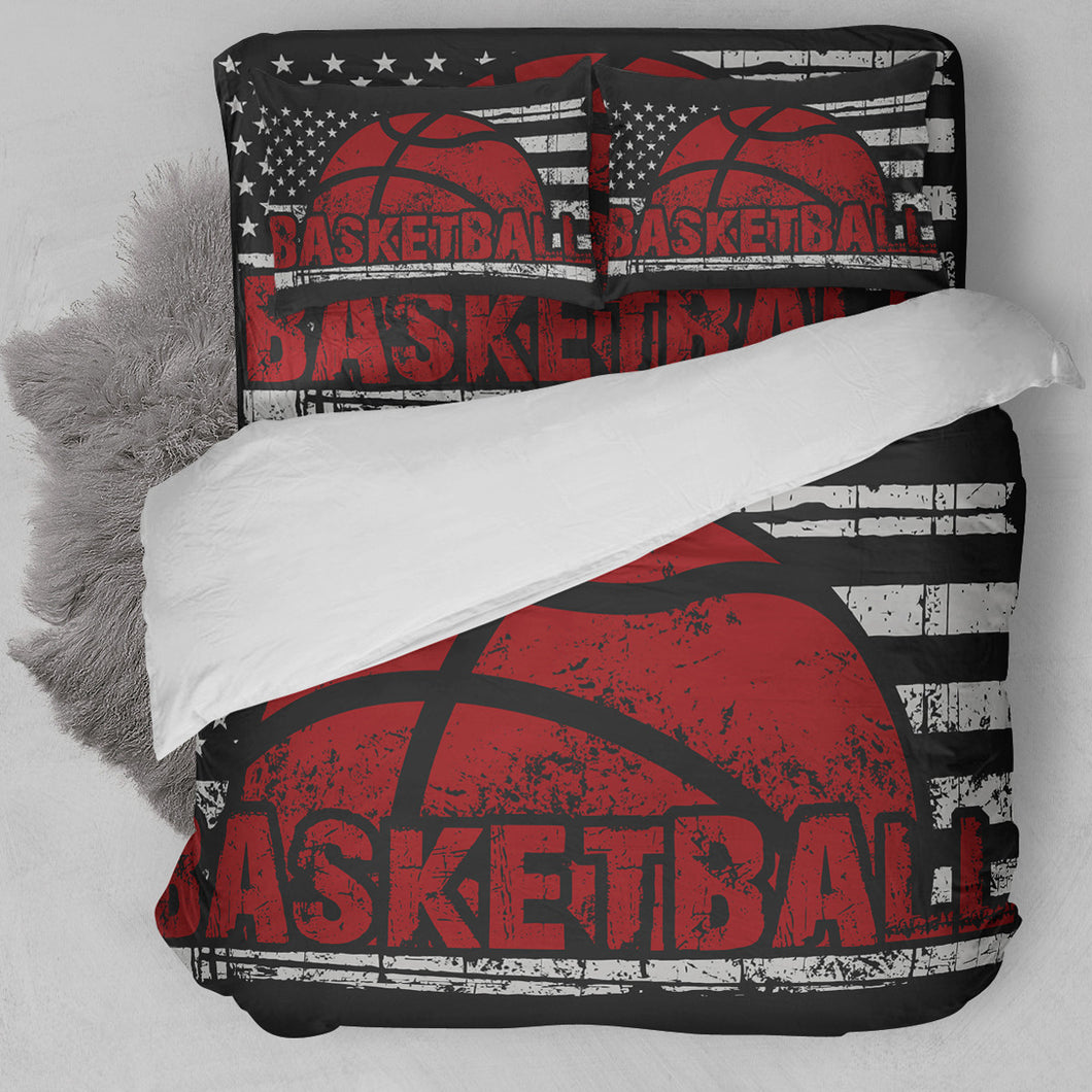 Basketball American Flag Red Bedding Set