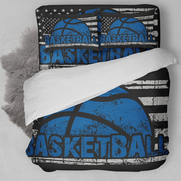Basketball American Flag Blue Bedding Set