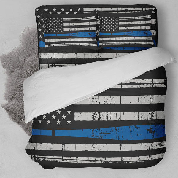 Baseball American Flag Blue Bedding Set