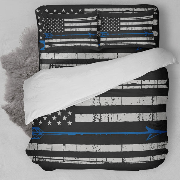 Archery American Flag Blue Bedding Set