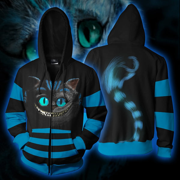 Cheshire Cat Blue Costume Zip Hoodie