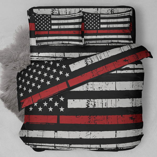 Thin Red Line Firefighter Bedding Set NEW