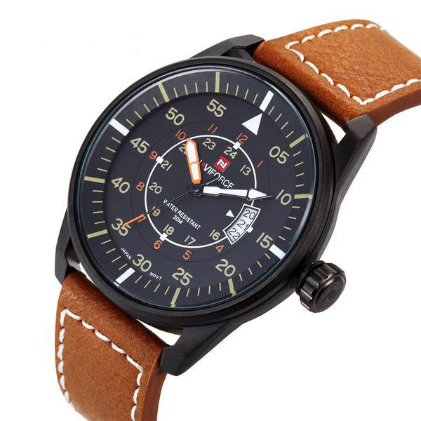 Luxury Leather Strap Military Watch