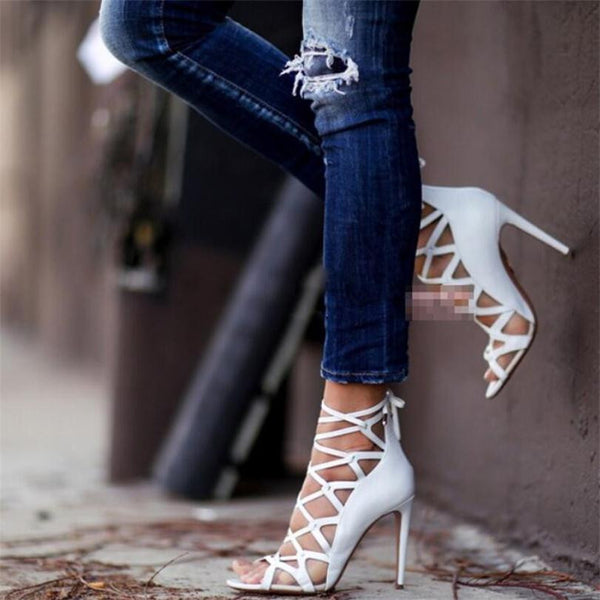 Cut-Outs Cross-tied High Heels