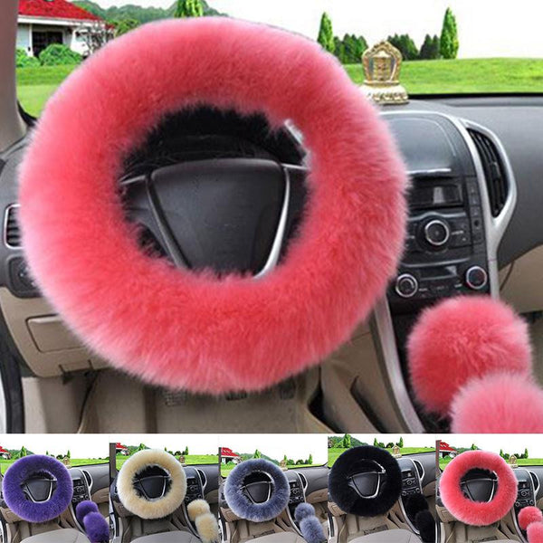 3pcs/set wool plush car steering wheel cover