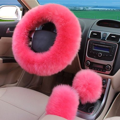 3pcs/set Pink Wool plush car steering wheel cover