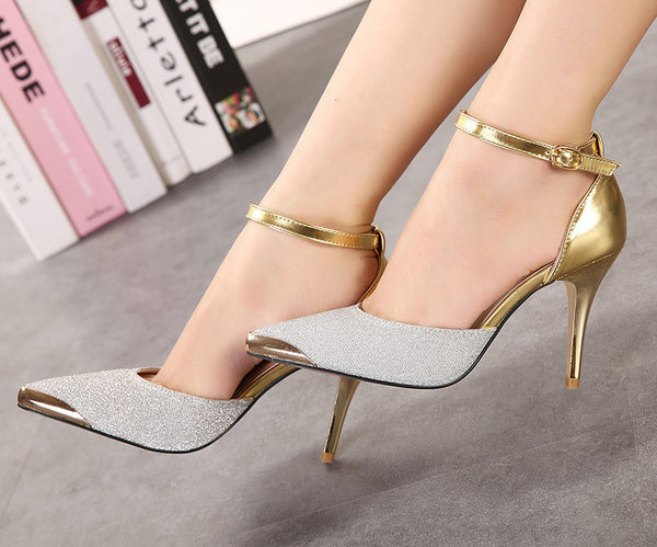Bright Mental Gold Pointed Toe Heels
