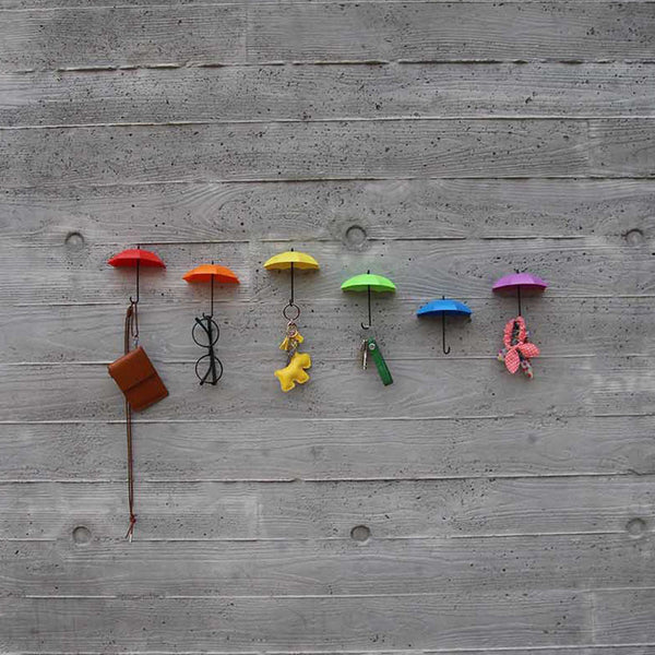 3 Pcs Colorful Umbrella Wall Hooks