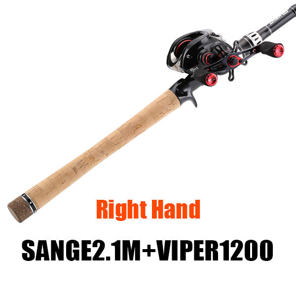 Sea Knight Carbon 2.1m Lure Travel Rod and 12BB Viper 1200/1200HG Baitcasting Fishing Reels COMBO