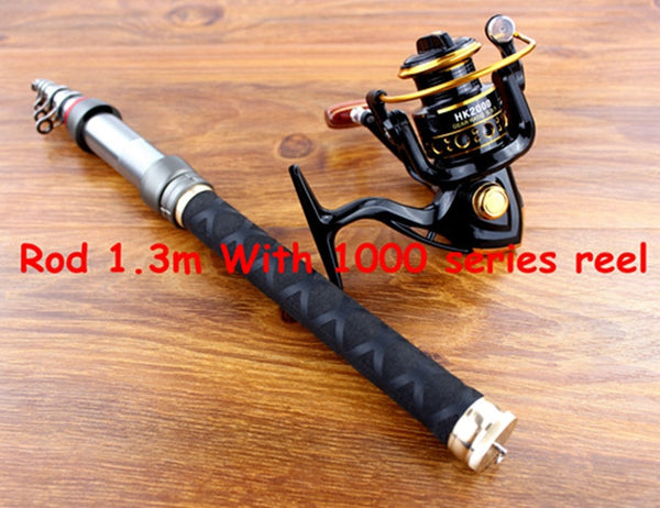 Carbon Fiber Telescopic Fishing Rod [1.3m to 2.4m] and 12BB Spinning Fishing Reel COMBO
