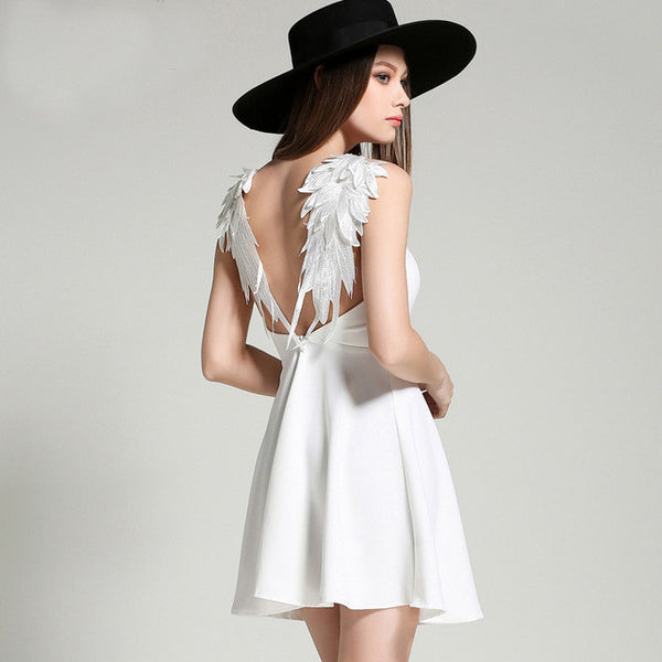 Backless Lace Angel Wings Dress