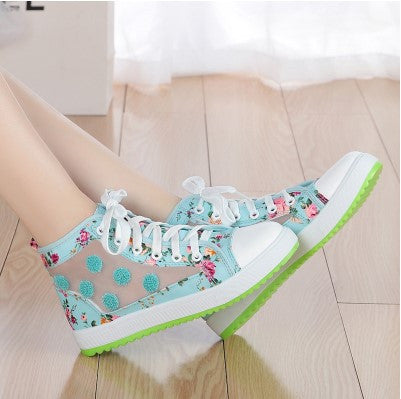 Flower Mesh Shoes Flat Shoes