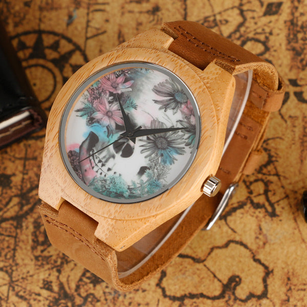 Skull Flowers Nature Wood Watches