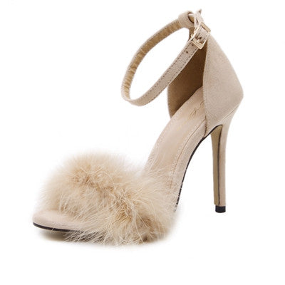 Feather Hairy Buckle Strap High Heels