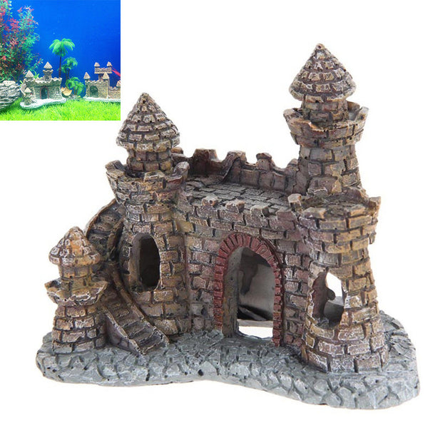 Resin Cartoon Castle Tower Aquarium Ornaments